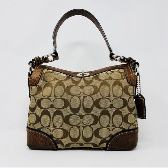 Coach Handbags - Coach 10980 Signature Fabric   Leather Turnlock 1c7f437b0fe06